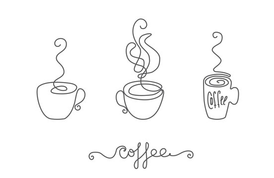 Continuous Thin Line Coffee Cup with Smoke Vector Illustration