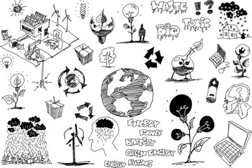 many hand drawn sketches of topics regarding nature and environment and ecology and energy and planet earth and weather