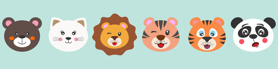 Cute cartoon characters animals bear, cat, lion, tiger and panda.