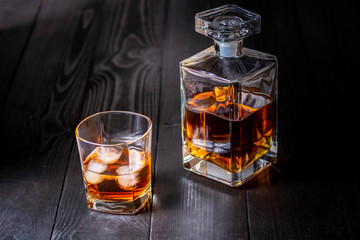 Printed roller blinds Bar carafe and glass with whiskey