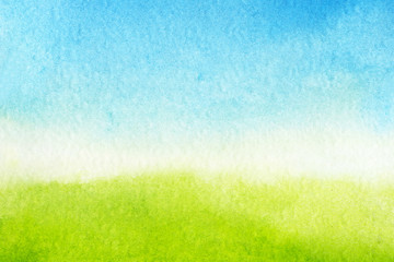 watercolor background is green and blue gradient. Sky with clouds and Green meadow with grass Wall mural