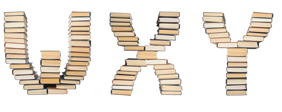 W X Y letter from books. Alphabet isolated on white background. Font composed of spines of books