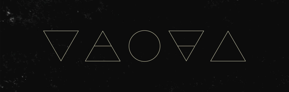 Alchemy symbols isolated on dark background. Magic vector decorative elements