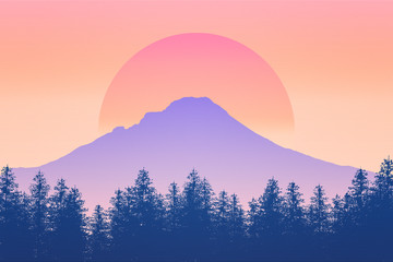 Fototapeta Nature and wilderness scenery background 2D illustration with sun. Sunrise or sunset feel. Mt Hood silhouette, Oregon, USA. Outdoors concept.