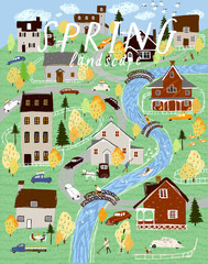 Spring landscape and nature. Vector cute panorama illustration of a village, houses, trees, cars and people. Drawing for background, card or poster.