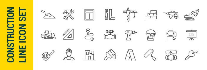 Fototapeta Building construction vector isolated line icon set obraz