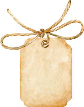 Watercolor brown paper tag tied up with a rope bow isolated on white background.