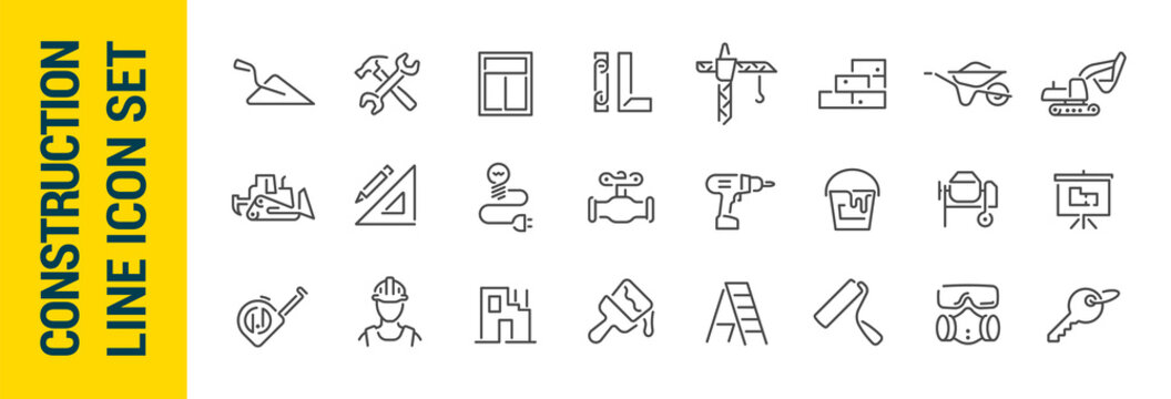 Building construction vector isolated line icon set