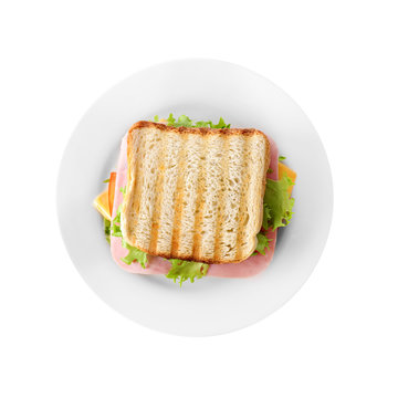 Tasty sandwich with ham isolated on white, top view