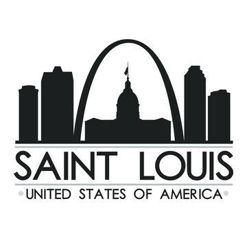 Saint Louis Missouri Skyline. Silhouette Design City Vector Art. Landmark Illustration Logo.