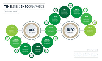 Infographic of green technology or education process with 11 parts. Template of info chart or diagram. Horizontal eco Business presentation concept with eleven options. Wall mural