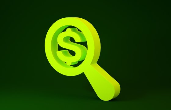 Yellow Magnifying glass and dollar icon isolated on green background. Find money. Looking for money. Minimalism concept. 3d illustration 3D render