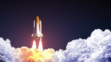 Fotomurales - Space Shuttle Launch On Blue Sky. Slow Motion. 3D Animation. 4K.  Ultra High Definition. 3840x2160.