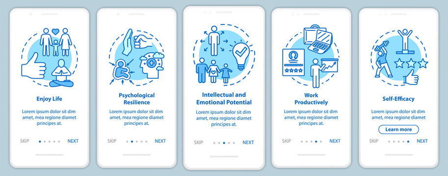 Mental health onboarding mobile app page screen with concepts. Work productively. Psychological wellness walkthrough five steps graphic instructions. UI vector template with RGB color illustrations