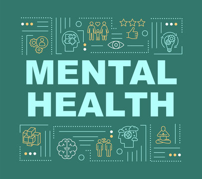 Mental health word concepts banner. Happy healthy mind. Joyful life. Infographics with linear icons on dark green background. Isolated typography. Vector outline RGB color illustration