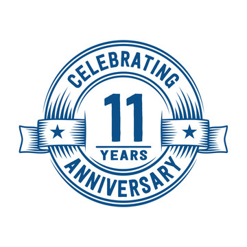 11 years logo design template. 11th anniversary vector and illustration.