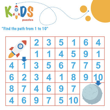 Find the path from 1 to 10. Easy colorful math worksheet practice for kids in preschool, elementary and middle school.