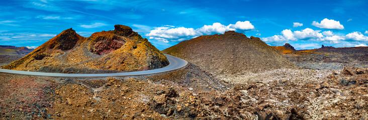 Deurstickers Canarische Eilanden Volcanic landscape at Timanfaya National Park, Lanzarote Island, Canary Islands, Spain.Scenery mountains,volcanoes and craters in wild landscape
