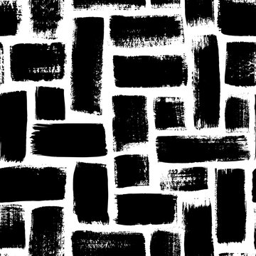 Grunge rectangles vector seamless pattern. Hand drawn brush strokes ornament. Ink illusatrtion, geometric abstract texture.
