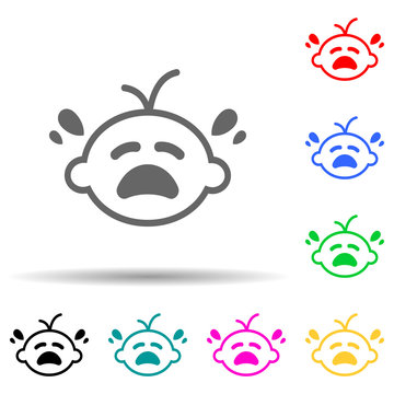crying baby multi color style icon. Simple glyph, flat vector of baby icons for ui and ux, website or mobile application