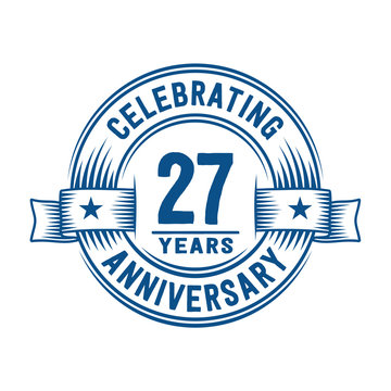 27 years logo design template. 27th anniversary vector and illustration.