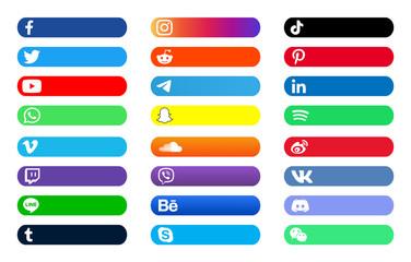 Facebook, twitter, instagram, youtube, reddit,telegram,snapchat, pinterest, tiktok,behance,vk.skype,viber, icloud,weibo,discord,spotify  label vector banner