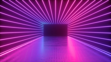 3d rendering, abstract neon background, empty square tunnel with pink glowing lines, long corridor,...