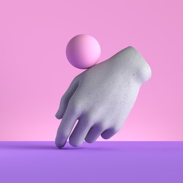 3d render, mannequin hand and ball, relaxed gesture, isolated on pink background, minimal fashion concept, simple clean design. Limb prosthesis