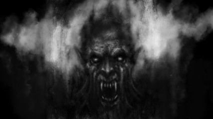 Scary vampire face in the darkness. Black and white illustration.