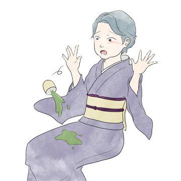お茶をこぼす着物女性