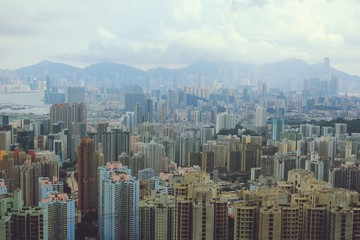 Foto op Plexiglas Hong-Kong AERIAL VIEW OF CITYSCAPE