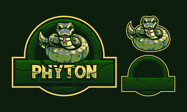 Python mascot logo design with stone crack frame isolated on dark green background