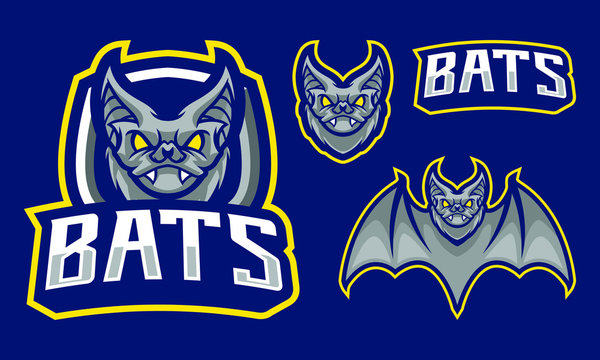 Bats mascot logo design with extra shield for sport/ e-sport team isolated on navy blue background
