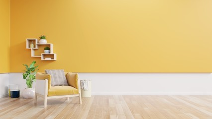 Living room interior with yellow fabric armchair,lamp,book and plants on empty yellow wall background. Wall mural