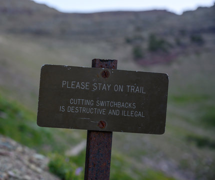 Please Stay On Trail Sign
