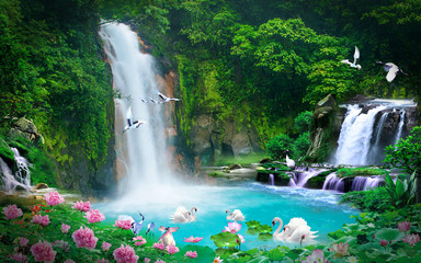 Poster Cascades wallpaper 3D natural waterfall view