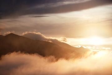 Dolomites fog sunset