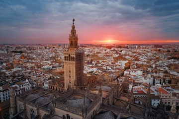 Seville Cathedral aerial view sunrise Fototapete