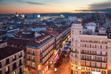 Wall Mural - Madrid rooftop view sunset