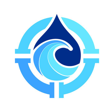 water drop logo icon wave and pipes symbol design