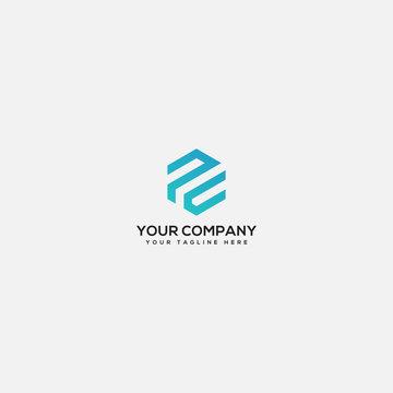 PC logo geometric design, PC letter, PC logo
