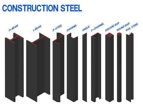 set of isometric construction steel on white background.