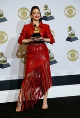 "62nd Grammy Awards – Photo Room – Los Angeles, California, U.S., January 26, 2020 - Rosalia poses backstage with her Best  Latin Rock, Urban or Alternative Album award for ""El Mal Querer\"