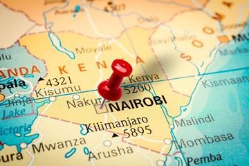 Pushpin pointing at Nairobi city in Kenya