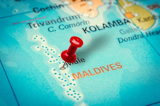 Pushpin pointing at Male city in Maldives