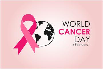 World Cancer Day Awareness Ribbon, 4 February. Vector illustration.