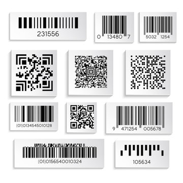 Barcode or serial number isolated icons, qr coding