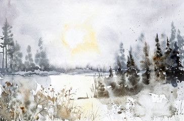 Watercolor illustration of a beautiful winter Russian forest at sunset