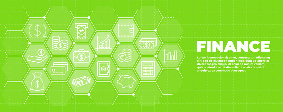 Business and finance green background with money icons