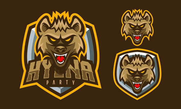 Hyena mascot logo design for sport or e-sport logo isolated on dark background